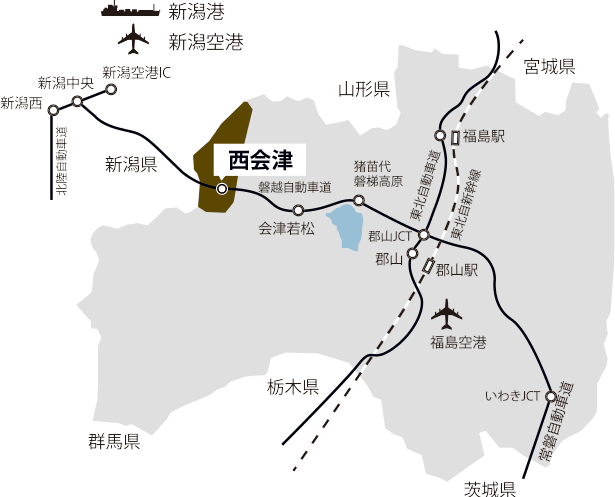 西会津工業団地がある環境地図